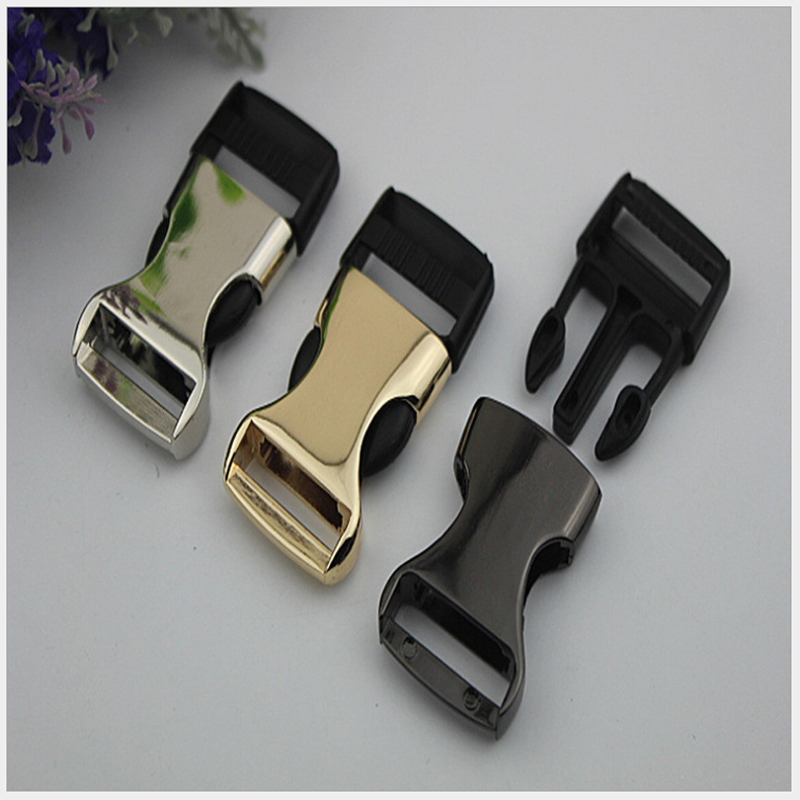 (6pcs/ lot) Black Quick Release Buckles Rings Metal & Plastic Side Release Buckles Clips 25mm Fasteners for Webbing Straps Belts