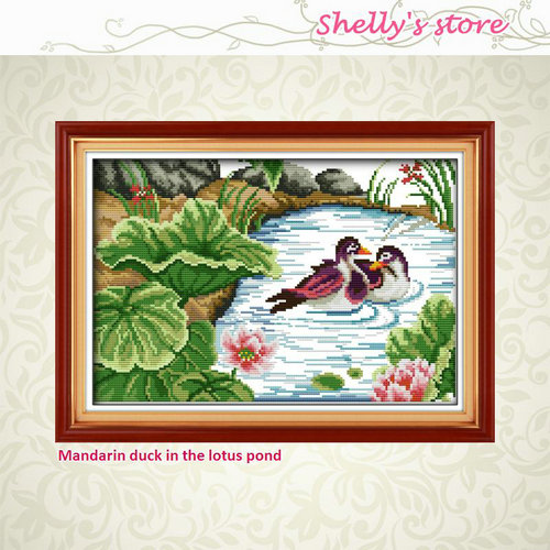 Mandarin duck in the lotus pond pattern Counted or Stamped Cross-Stitch Needlework DIY D ...