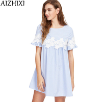AIZHIXI Floral Lace Applique Blue Striped Babydoll Mini Dress Women 2017 Summer Short Sleeve Dresses Womans