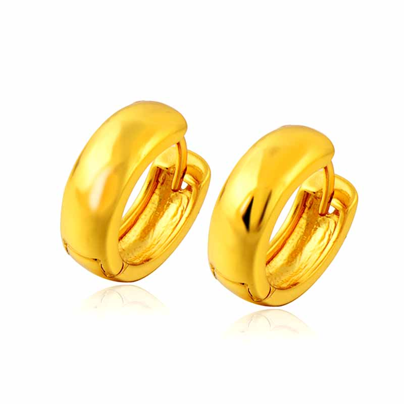 Wholesale Smooth Women\'s Hoop Earrings Round 24K Gold Color Small ...