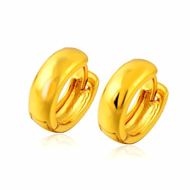 Whole Smooth Women S Hoop Earrings Round 24k Gold Color Small Circle For Mens Boys Fashion