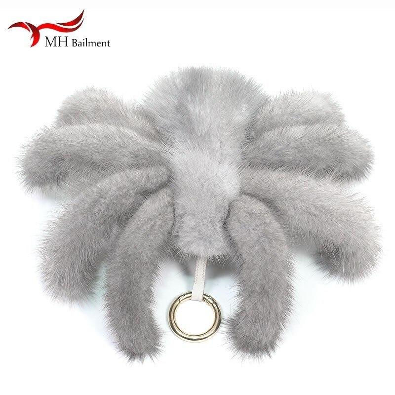 Vison fourrure pendentif grande taille araignée porte-clés magnifiquement fait sac ornements porte-clés araignée jouet décoration fournitures