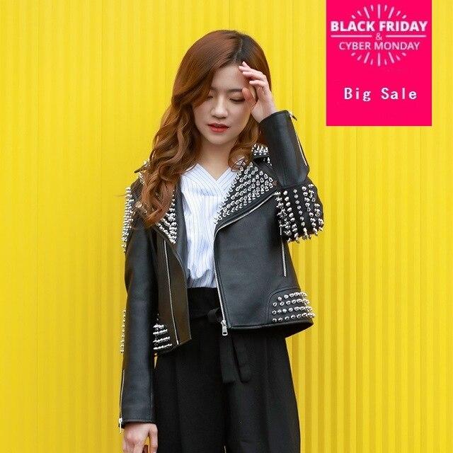 2019 autumn fashion brand Rivet beading pu   leather   fabric jackets female elegant black long sleeve   leather   jacket wq218 dropship