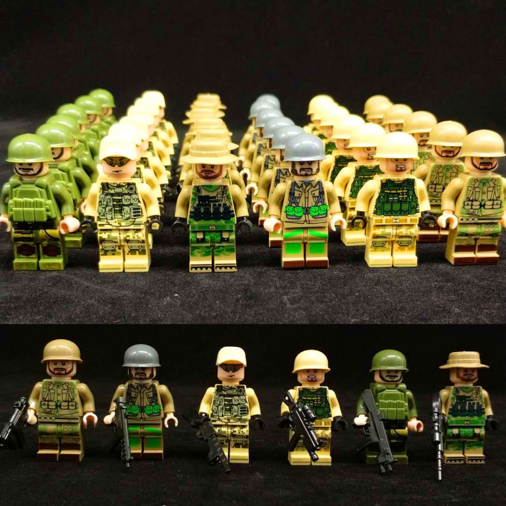 Single Sale WW2 Military Army Soldiers Modern SWAT Figure Police with Weapon Bricks Building Blocks Set Model Toys for Children