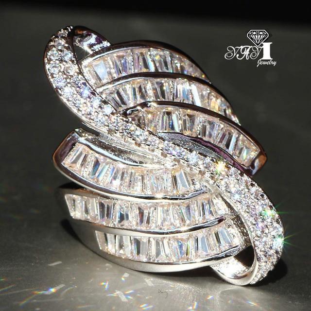 YaYI Jewelry Fashion Princess Cut 6.8 CT White Zircon Silver Color Engagement Ri