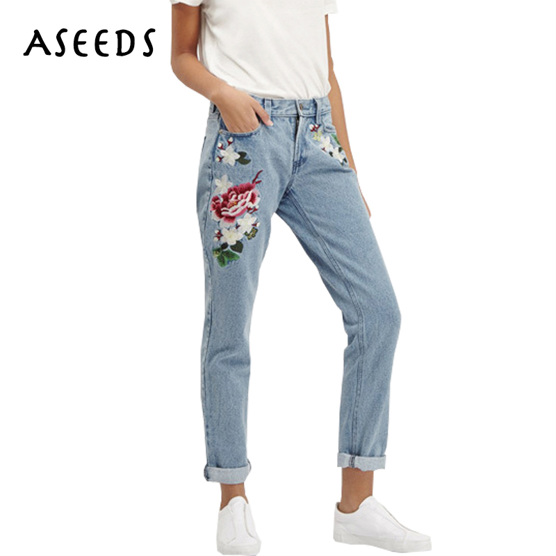 2017 Vintage flower embroidered boyfriend high waist jeans women pencil slim skinny jeans woman denim pants plus size
