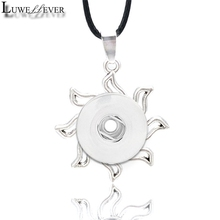 Metal Fashion Interchangeable Flower Crystal Ginger Necklace 025 Fit 12mm 18mm Snap Button Pendant Charm Jewelry For Women Gift