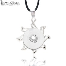 Metal Fashion Interchangeable Flower Crystal Ginger Necklace 025 Fit 12mm 18mm Snap Button Pendant Charm Jewelry For Women Gift(China)
