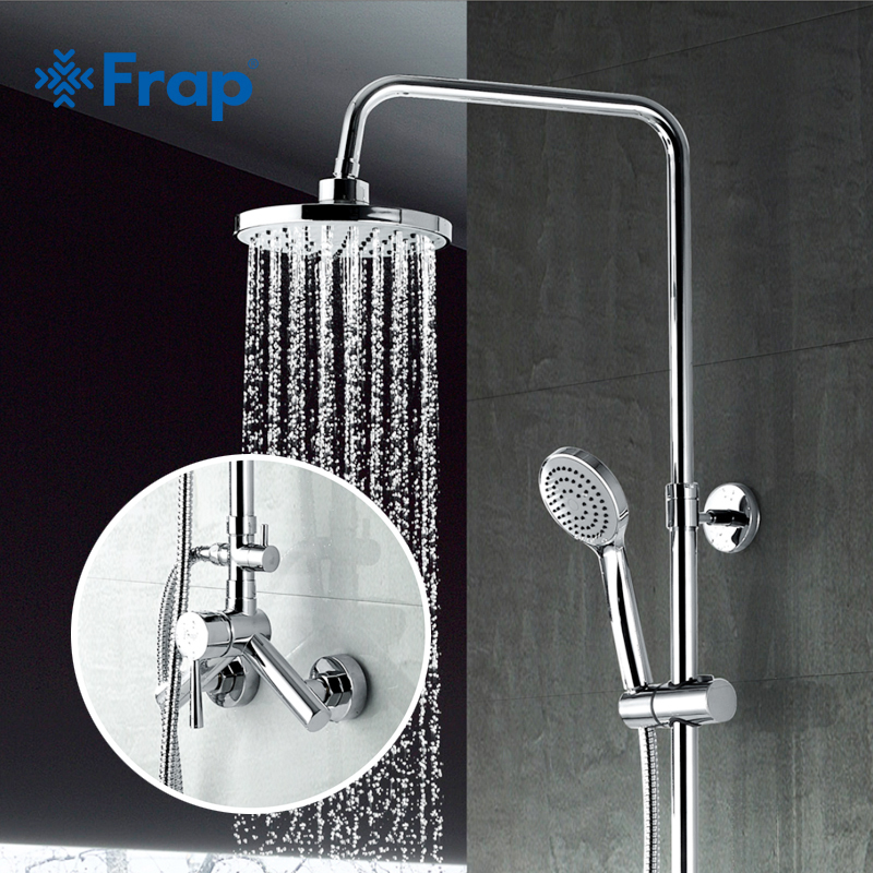 FRAP New Arrival 200*200mm ABS Shower Head Overhead Rainfall Shower Single Handle Cold and Hot Water Mixer F2409 душевой гарнитур frap f2409