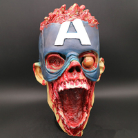 Cosplay Halloween Horror Captain America Latex Mask Bloody Scary COS Headgear for Men and Women