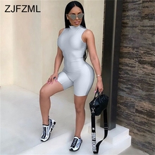 ZJFZML Sexy Bodysuit Women Sleeveless Playsuit Back Zipper Bodycon Jumpsuit Short Rompers Womens Jumpsuit Party Club