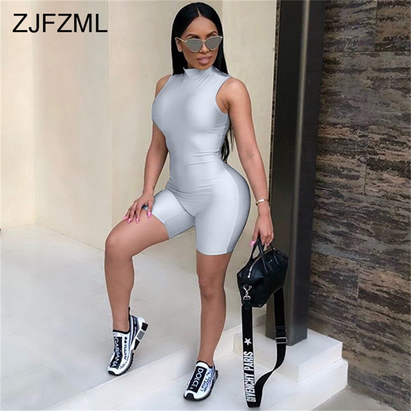 ZJFZML Sexy Bodysuit Women Sleeveless Playsuit Back Zipper Bodycon   Jumpsuit   Short Rompers Womens   Jumpsuit   Party Club Body Femme
