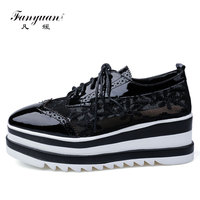 Fanyuan Luxury Design Genuine Leather Oxfords Womens Shoes Square Toe Mixed Color Lace Up Flat Platform Brogue Shoes Lady