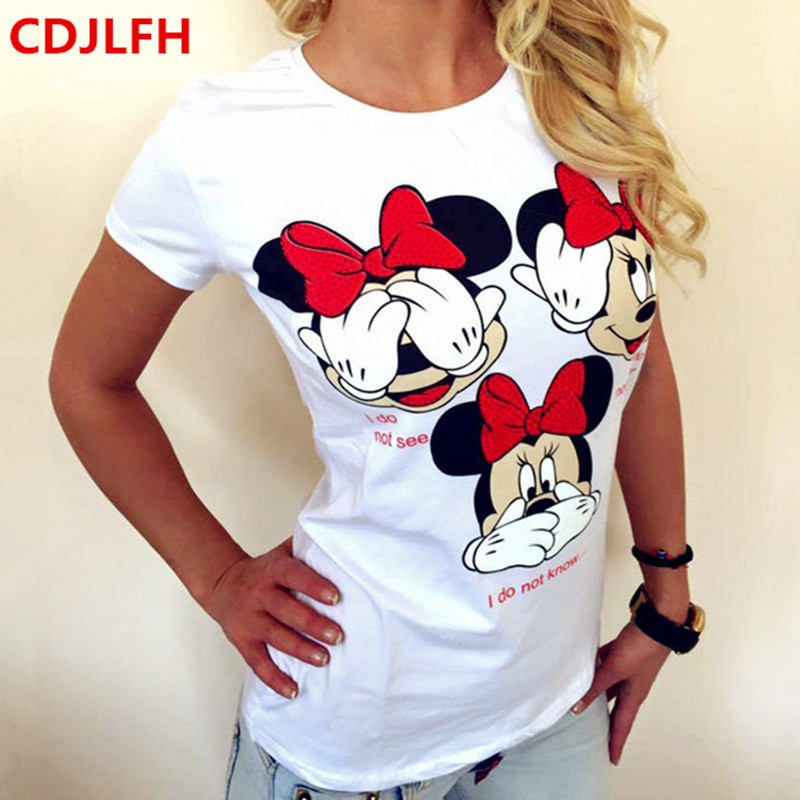 CDJLFH Tshirt Fashion Women Summer T Shirt Short Printed Tops Kawaii T-Shirt 2018 Sexy Funny Feminino Tshirts Camiseta Feminina