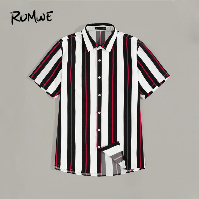 ROMWE Men Striped Button Up Shirt 2019 Casual Style Summer Short Sleeve Shirts New Mens Clothing Single Breasted Tops