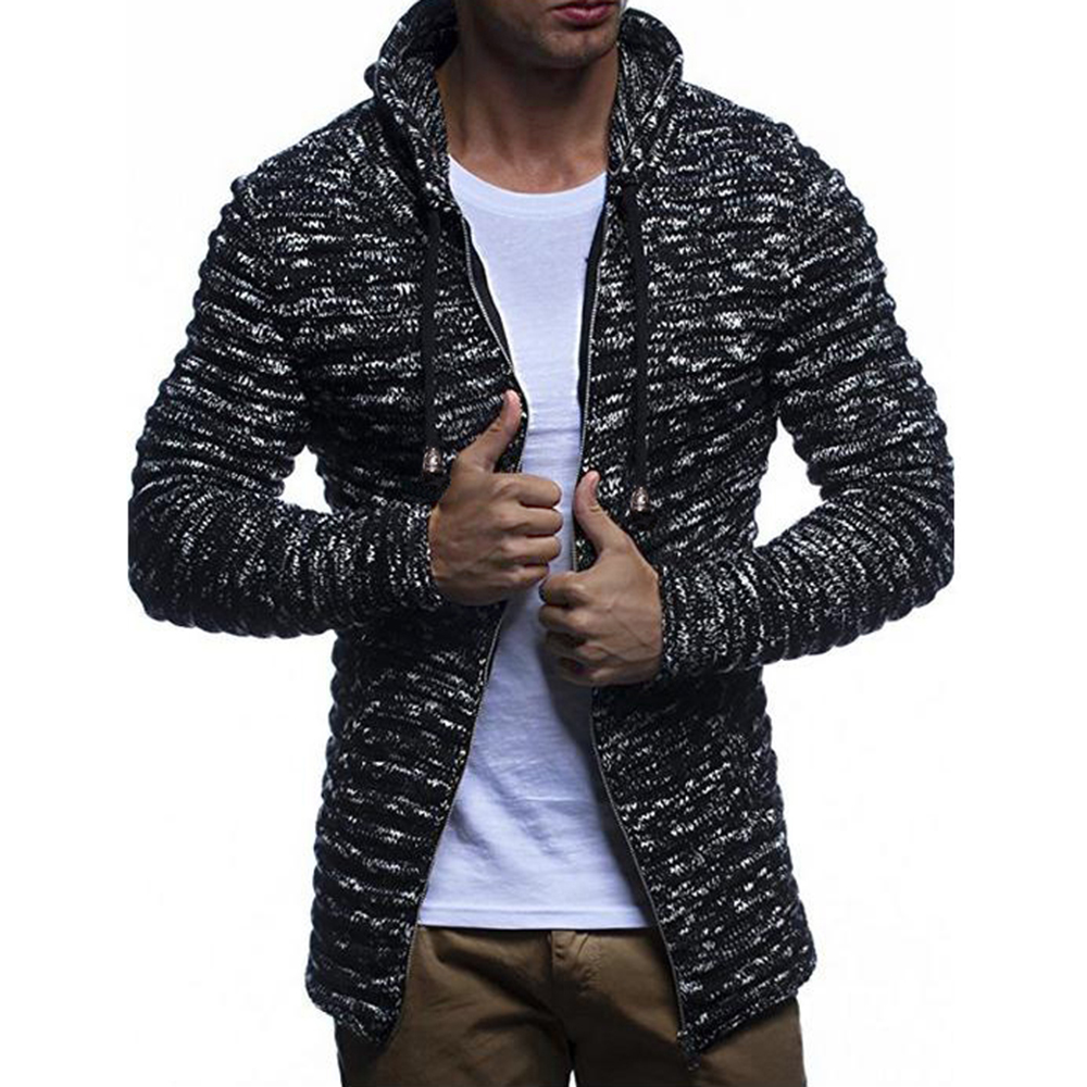 2018 Heißer Verkauf Mit Kapuze Kordelzug Pullover Männer Herbst Mode Solide Zip Up Pullover Lässige Warm Stricken Jumper Pullover Männlichen Mäntel Fein Verarbeitet