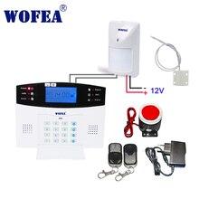 Wofea LCD display drahtlose verdrahtete bruglar GSM alarm system home security intercom w verdrahteten typ sensor