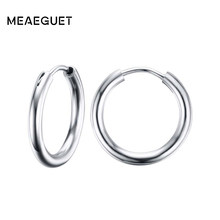 Meaeguet Silver Color Stunning Hoop Earrings For Women Classic High Polished Stainless Steel Antique Ear Jewelry(China)