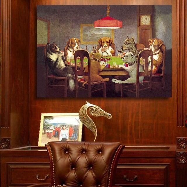 Qkart Peinture  LHuile Mur Art Impressions Sur Toile Chiens Jouant