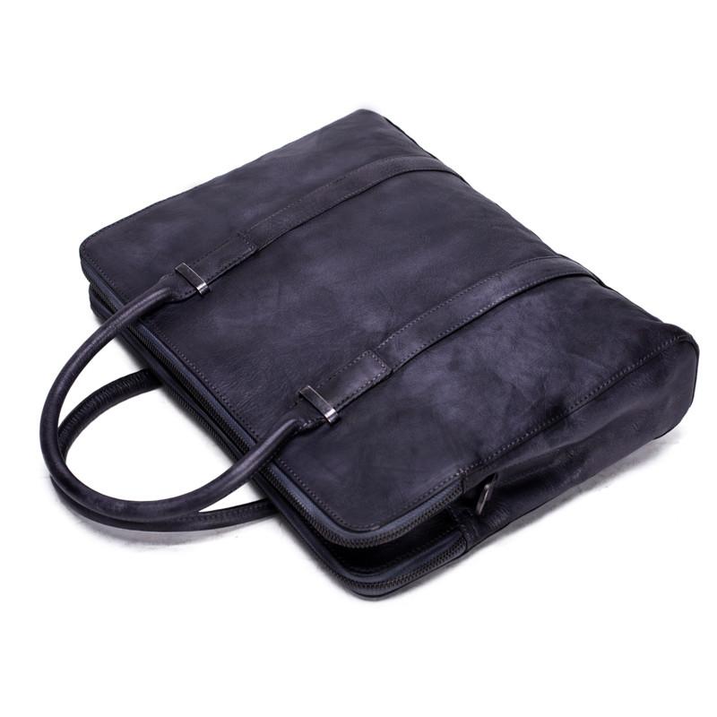 Vintage Vegetable Tanned Men Leather Briefcase Messenger Bag Laptop Bag 4