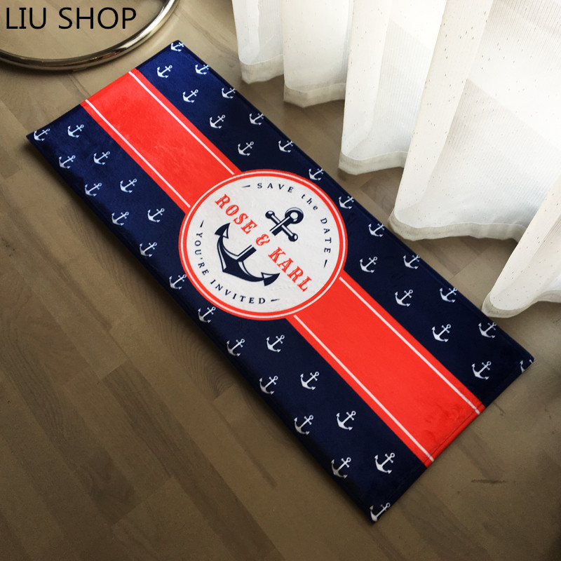 LIU Anchor Living Room Bedroom Carpet Fleece Kitchen Bathroom Sailor Mat Long Absorbent Non Slip Rug Mediterranean Style Home