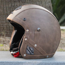 2016 Brand Black Adult Leather Harley Helmets For Motorcycle Retro Half Cruise Helmet Prince Motorcycle Helmet DOT