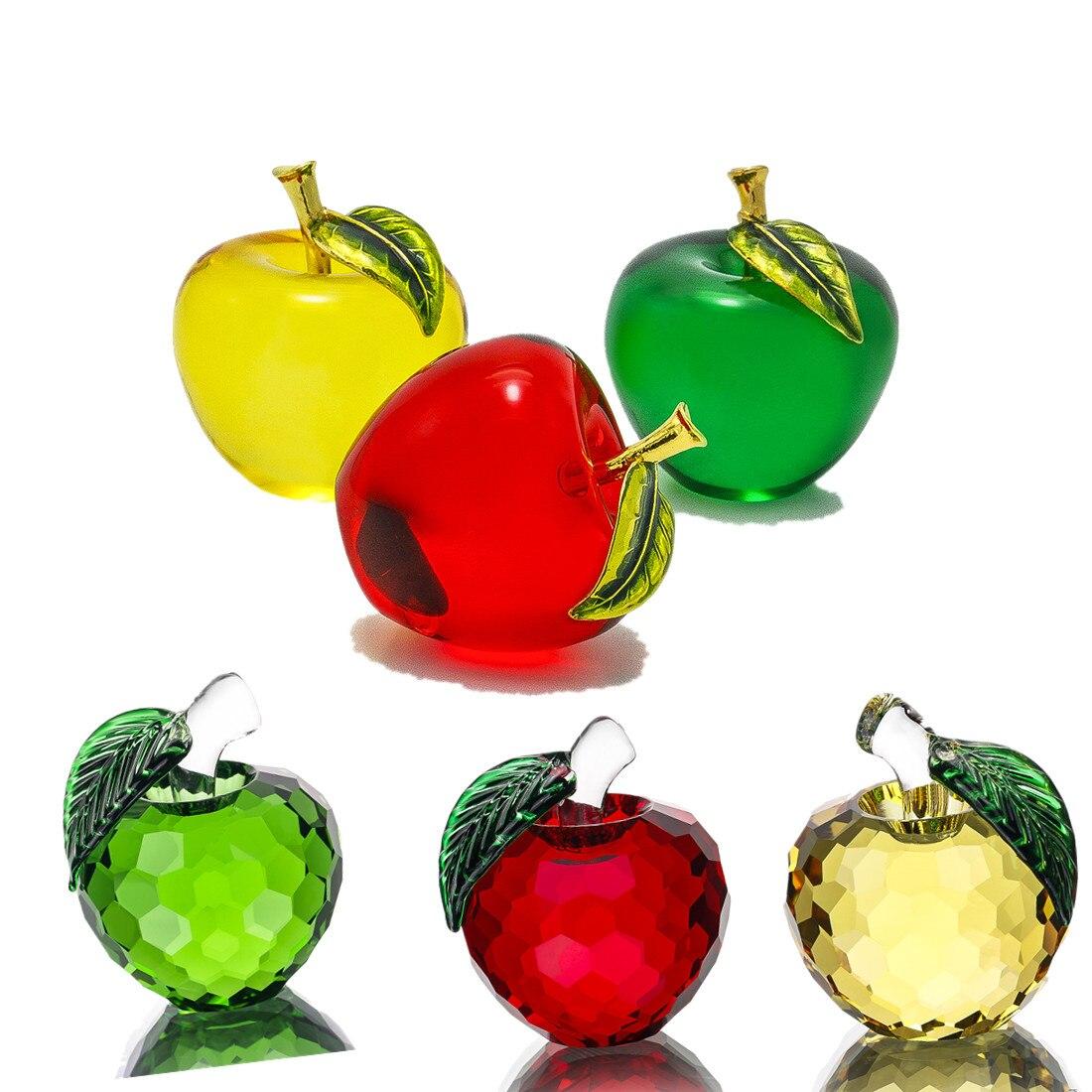 H & D 55mm Brillant Cristal Apple Presse-papiers Presse-papiers En Verre Cadeaux Art Pour Cristal Artisanat Accueil Décoration De Mariage