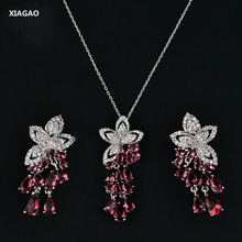 XIAGAO Luxury Jewelry Set Women Earring & Necklace Chin 4 Colors Waterdrop Crystal For Women Party Prom Fashion Accessories