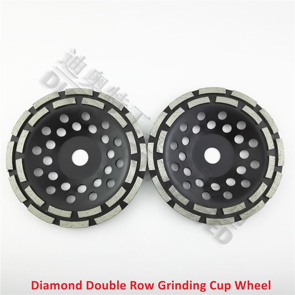 ФОТО 2pcs/pk 7 inch Diamond Double Row Grinding Cup Wheel 180MM Grinding disc disk arbor 22.23mm concrete masonry granite marble