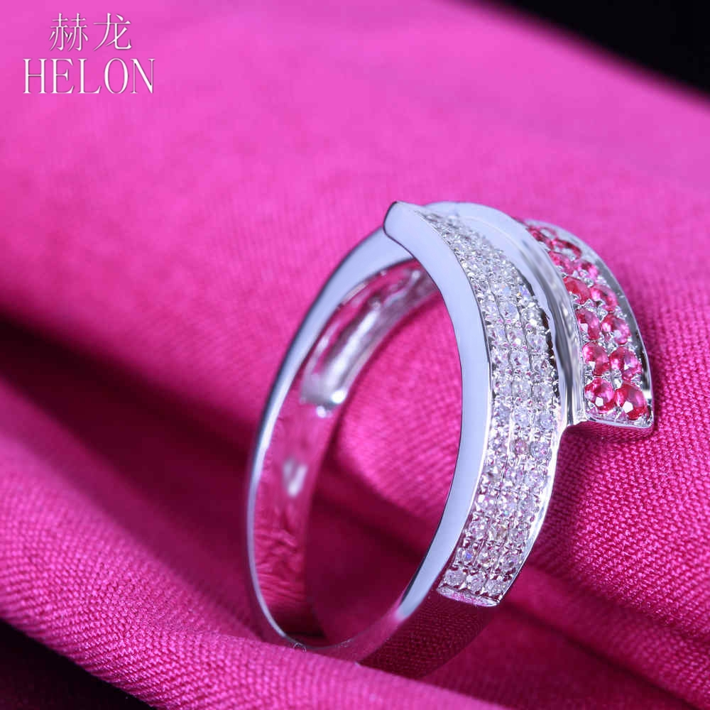 HELON Solid 14K White Gold Engagement Wedding Anniversary Ring Pave ...