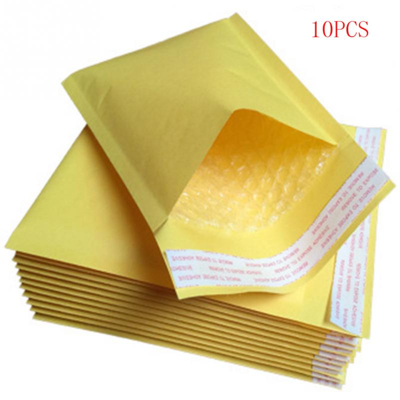 10Pcs Mailing Bags Window Envelopes Bag Moistureproof High Quality Kraft Paper Self Seal Yellow Stationary Drop Shipping #17