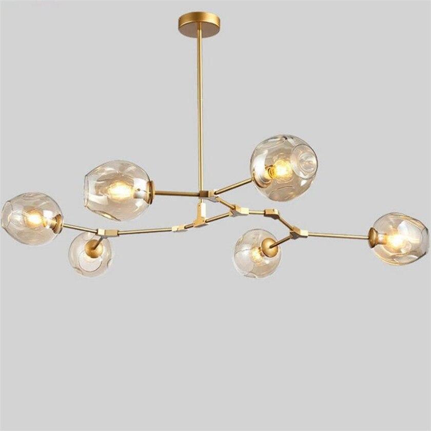 Nordic loft стекло светодио дный Филиал СВЕТОДИОДНЫЕ люстры для столовой кухня стекло абажур Globle люстры блеск висит дома лампы