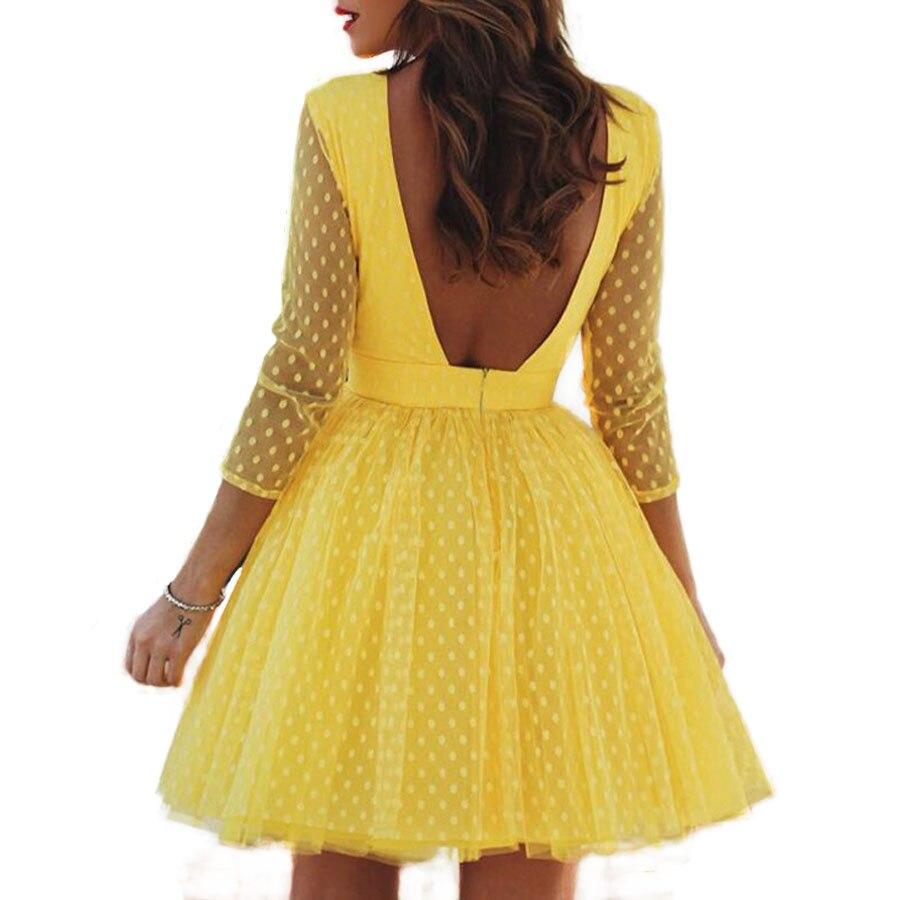 Women Dress 2019 New Spring Summer Mesh Gauze Dots Backless Princess Party Formal Dress Women's Short Dresses Red/Yellow