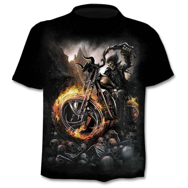 Tengkorak 2019 T Shirt Pria Hip Hop Street Gothic Kemeja Punk 3D Lengan Pendek Kemeja Lucu Mengendarai Sepeda Motor cetak T-shirt