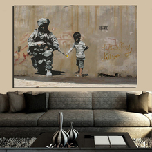 Banksy Peace Cannot Be Kept By Force Canvas Painting Posters Print Marble Wall Art Decorative Picture Modern Home Decor