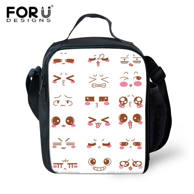 Forudesigns Kawaii White Children Kids Lunch Bag Insulated Thermal Emoji Smiley Lunchbox Bags For Women