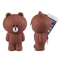 POEME CREATION Cute 3D Cartoon Bear Multi Function Phone Case Soft Silicone Cover Gift Pencil Case