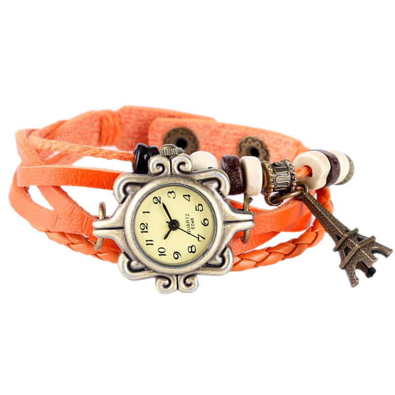 Style Women Braclet Wrist Watch Qrange Leather Casual