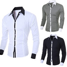 2019 New Arrival Casual Business Men Dress Shirts Luxury Brand Long Sleeve Cotton Stylish High Quality Males Social Shirts(China)