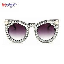 2018 Brand designer Luxury women Sunglasses Pearl with Rhinestone Vintage Cat eyes Ladies Shade Big Size Sunglasses Women