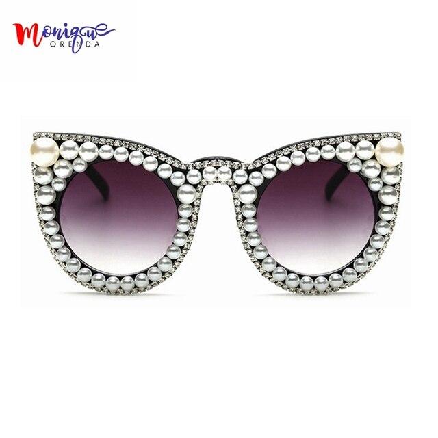 5eda08fa7f321c 2018 Marque designer De Luxe femmes Lunettes De Soleil Perle avec Strass  Vintage Chat yeux Dames