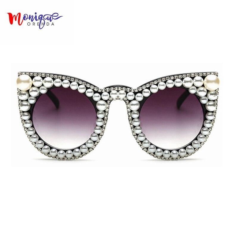 aaeb084ed Óculos de Sol Pérola com Strass Sombra dos Olhos Gato do Vintage Grande