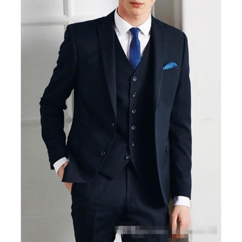 Navy Blue Men Wedding Suits Peaked Lapel Grooms Tuxedos Three Pieces Prom Mens Suits Slim Fit Two Button Groomsmen Suit