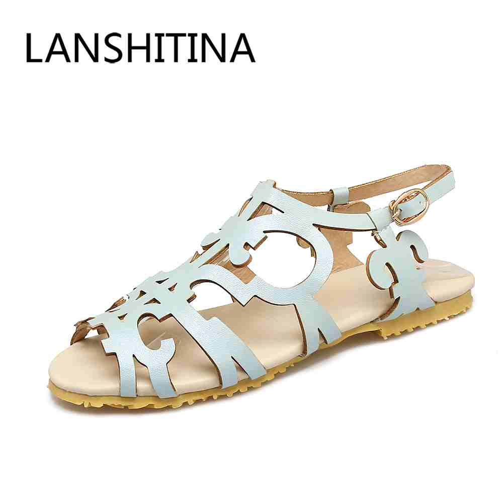 Big size 34-47 women shoes sandals Casual style Fretwork flats sandals fashion Cut-Outs Gladiator sandals Peep Toe summer shoes factory sell fashion gladiator t straps summer flats sweet bow shoes casual dress women sandals 4 colors eur size 34 39 ddm917