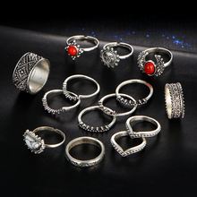 Vintage Bohemian Midi Finger Rings Set for Women Moon Sun Ethnic Red Natural Stone Knuckle Rings Jewelry Gift 14pcs/set