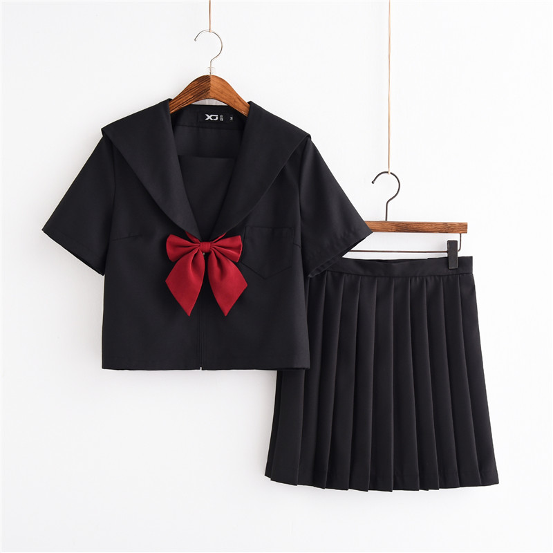 Black Three Japanese School Girl Halloween Costume Sailor Uniform Cute Girls Tops Pleated Skirt Lori Suit S-XXL