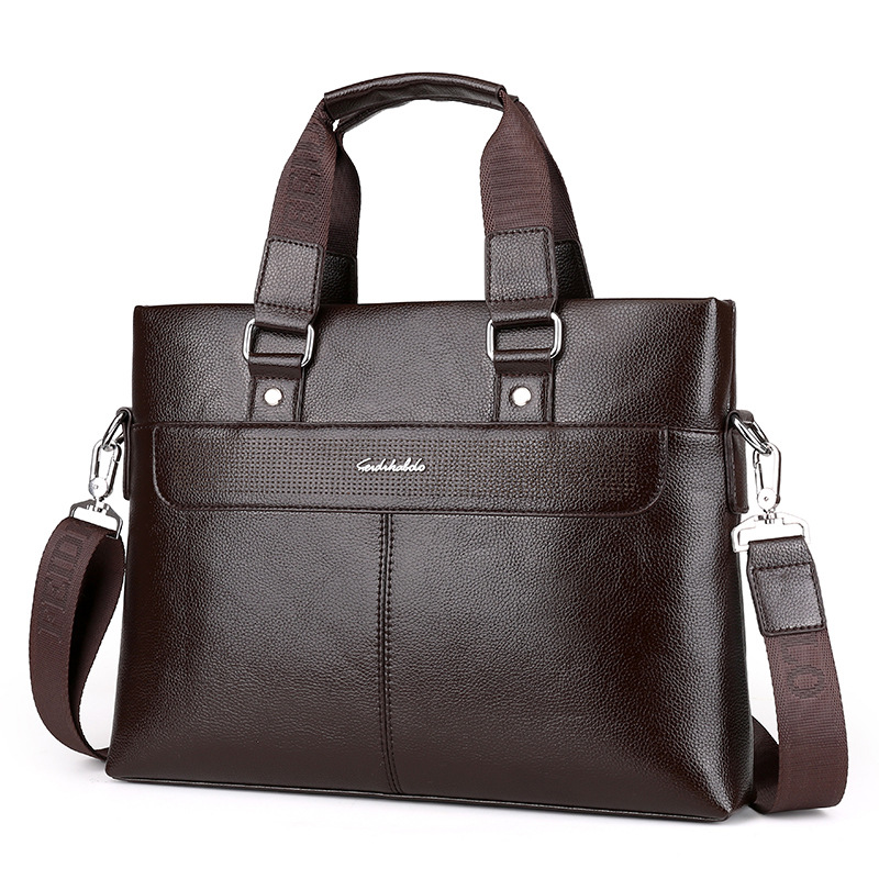 Men Casual Briefcase Business Shoulder Leather Messenger Computer Laptop Handbag Men's Handbag Solid Color Men's Bag Cross Secti