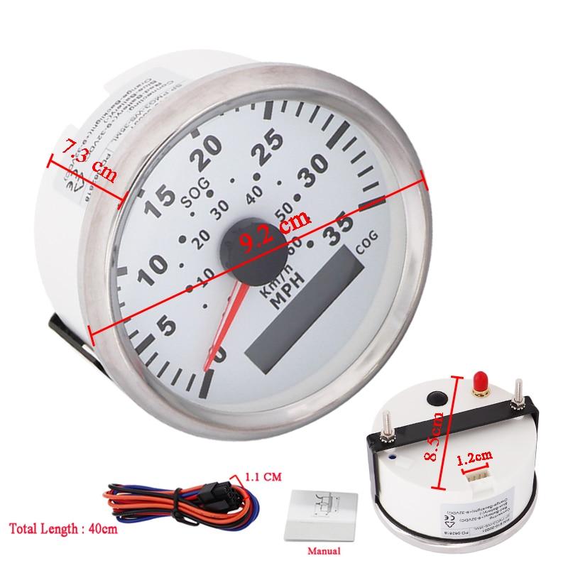 60KMH 1PCS GPS Speedometer Digital Waterproof 35MPH Speed meter fit Motorcycle Boat Car with Red Backlight