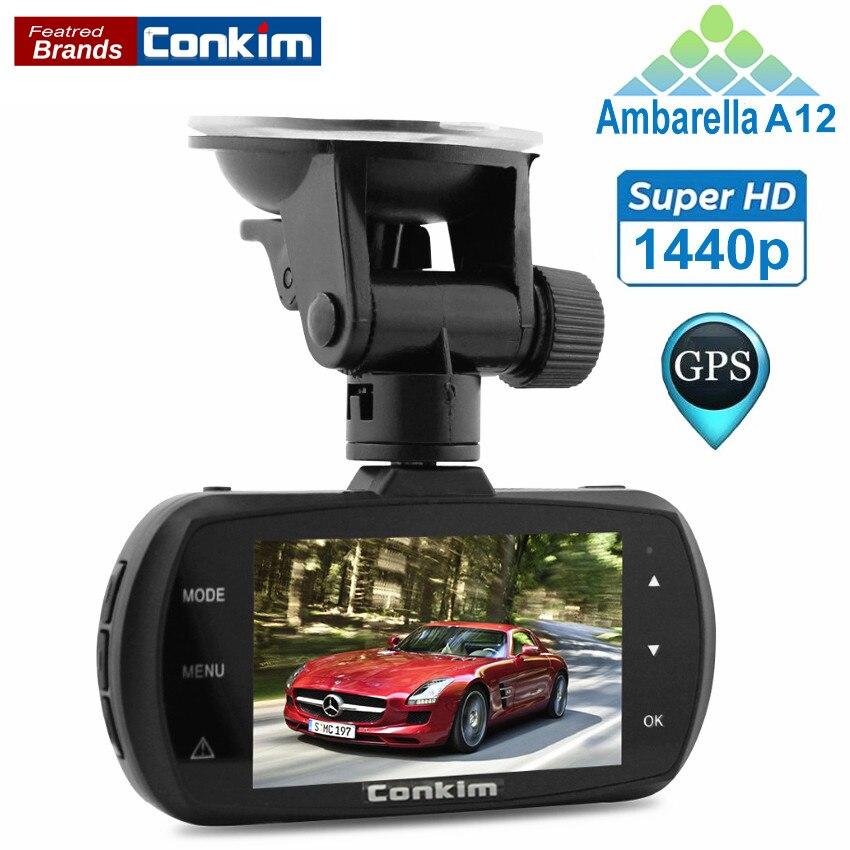 Conkim Voiture Dvr Ambarella A12 Voiture Caméra avec Super HD 1440 P 2.7 pouce 170 Degrés Vue Angle Dash Cam GPS Logger Voiture détecteur
