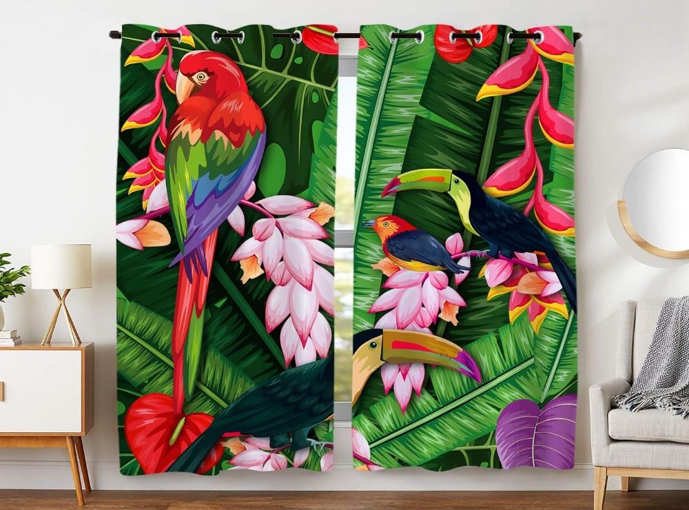 HommomH Curtains (2 Panel) Grommet Top Darkening Blackout Room Tropical Plant Bird Parrot ColorfulHommomH Curtains (2 Panel) Grommet Top Darkening Blackout Room Tropical Plant Bird Parrot Colorful